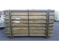5 x 1.8m (6ft) x 75mm Round Pointed Tanilised Tree Posts / Stakes