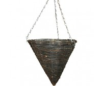 Black Rattan Cone Pointed Hanging Basket
