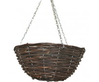 "24 x 14"" Round Black Rattan Wicker Hanging Basket"