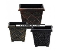 10 x 31cm Square Antique Effect Plastic Florence Style Planters (Various Colours)