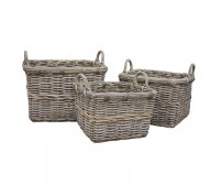 Handcrafted Rectangle Rattan Storage Baskets with Ear Handles