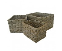 Handcrafted Rectangle Rattan Storage Baskets