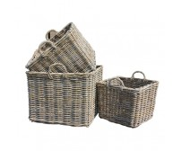 Handcrafted Square Rattan Storage Baskets with Ear Handles