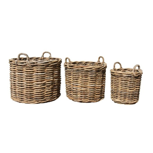 Large Round Wicker Baskets With Handle : Large handcrafted round rattan storage baskets with ear
