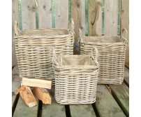 Handcrafted Square Rattan Storage Basket Set with Ear Handles & Removable Hessian Liner