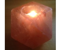 HIMALAYAN ROCK SALT CANDLE TEALIGHT HOLDER (DIAMOND) DESIGN