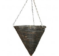 "2 x 14"" Black Rattan Cone Pointed Hanging Basket"