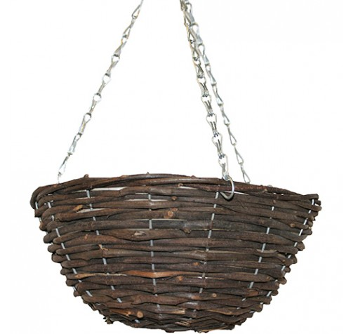 "2 x 14"" Round Black Rattan Wicker Hanging Basket"