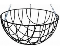 "2 x 16"" Traditional Round Bottom Wire Hanging Basket"