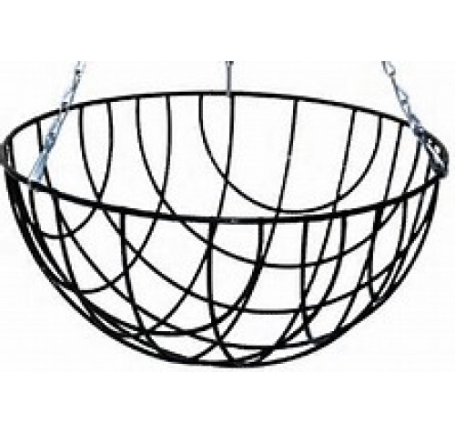 "24 x 12"" Traditional Round Bottom Wire Hanging Basket"