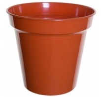 "10 x 10"" Terracotta Plastic Plant Pots Complete With Saucers"