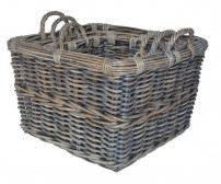 Handcrafted Square Azul Rattan Storage Baskets with Ear Handles