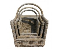 Handcrafted Rattan Log Holder/Carrier Baskets with Handle