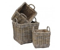 Handcrafted Square Rattan Storage Basket with Ear Handles & Removable Hessian Liner