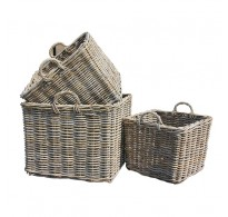 Large Handcrafted Square Rattan Storage Baskets with Ear Handles