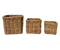 Handcrafted Square Rattan Storage Baskets