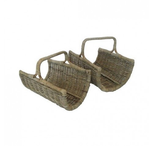 Handcrafted Rattan Log Carrier Baskets with Handle