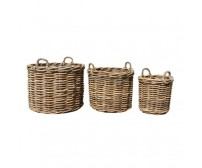 Large Handcrafted Round Rattan Storage Baskets with Ear Handles