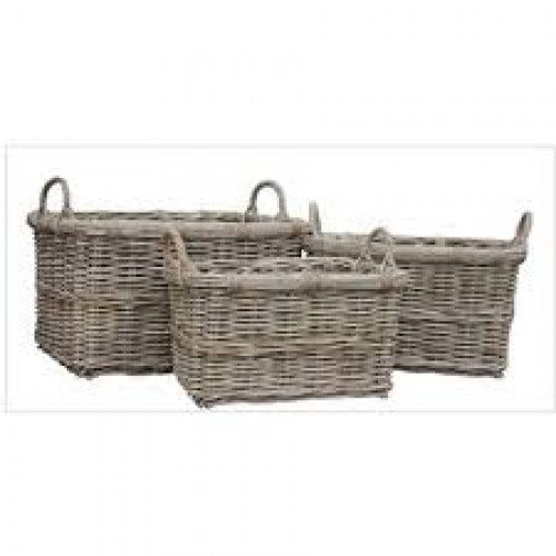 Rectangular Wicker Baskets With Handles : Handcrafted rectangle rattan storage baskets with ear handles