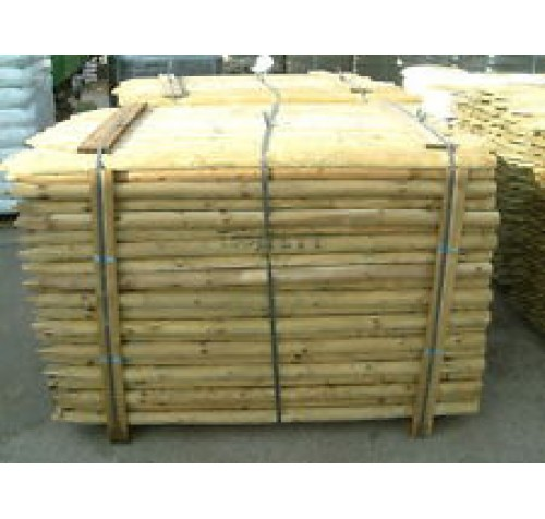 10 x 6ft (1.8m x 50mm) Round Pointed Tanalised Fence Posts / Tree Stakes