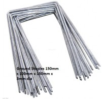 GALVANISED STEEL GROUND COVER FIXING STAPLES / PEGS / PINS 150mm x 100mm x 150mm